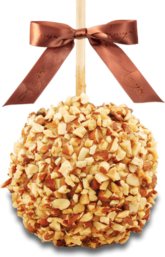 Freshly Chopped Almond Pieces Caramel Apple