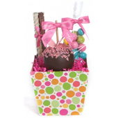 Spring Polka Dot Caramel Apple Gift Tray