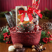 Holiday Red Seagrass Gift Basket