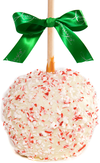 Holiday White Dunked Caramel Apple w/Candy Cane Fl