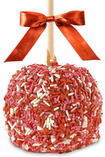 Gourmet Caramel Apple with Valentine's Sprinkles